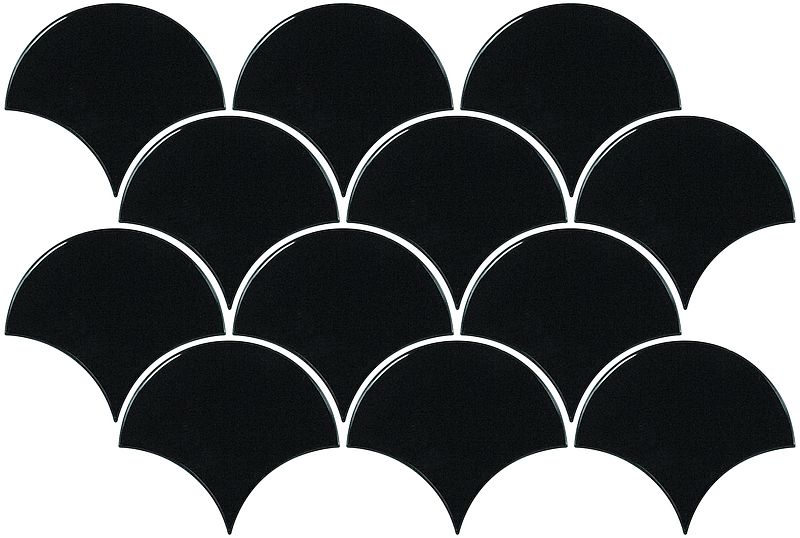 Scales Black Gloss Fan Mosaic Ceramic Tile Supplies