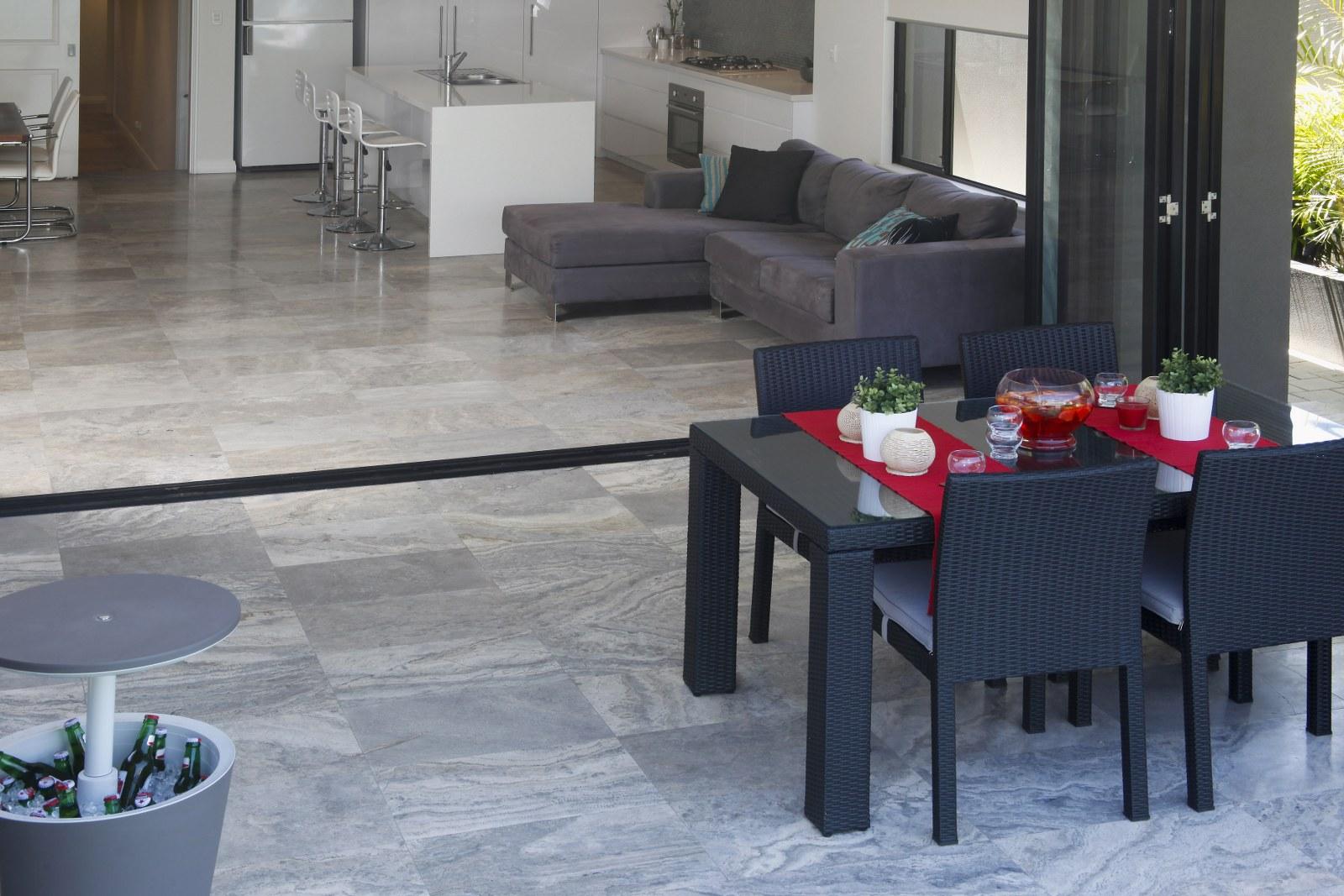 Silver Travertine Crosscut Honed Amp Filled Ceramic Tile
