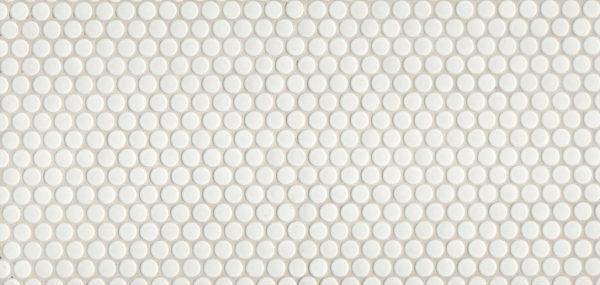 Penny-Round White Satin Glazed Mosaic 1