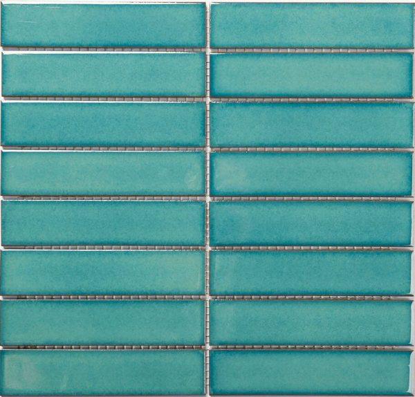 Crystal Green Stack Bond Gloss Mosaic 1