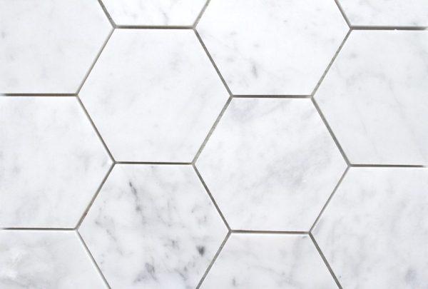 Carrara Honed Hexagonal Mosaic 1