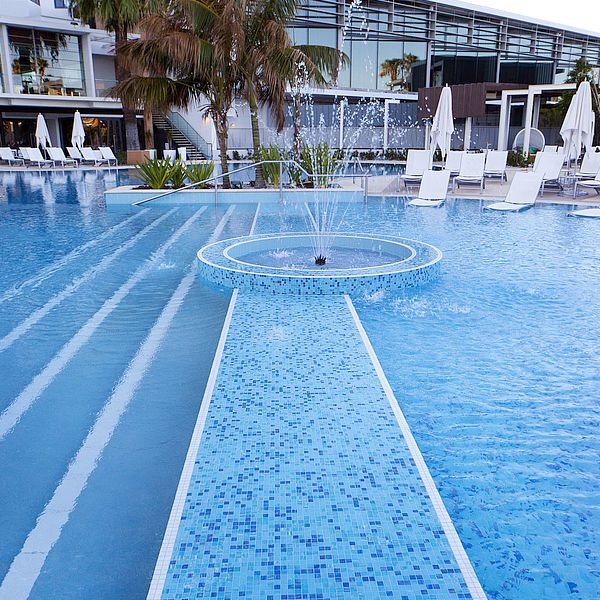 Crown Resort Perth, Western Australia swimming pool glass mosaics by www.ctsupplies.com.au