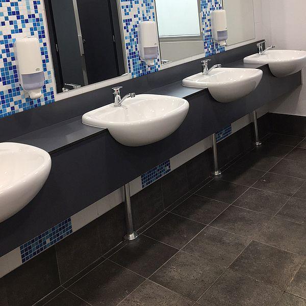Downtown Charocal Matt commercial bathroom floor tiles
