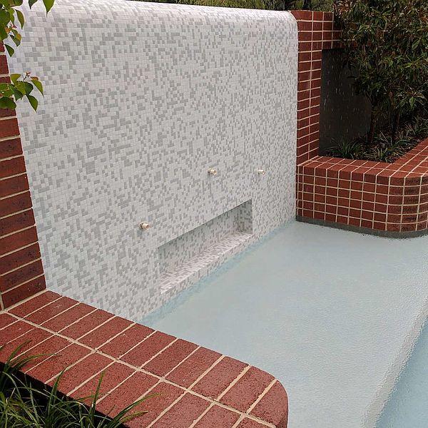 Cloud mix white swimming pool glas mosaics perth