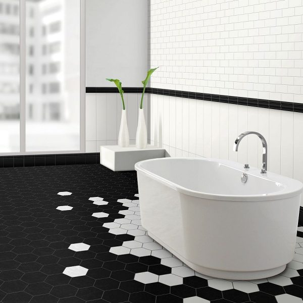 Hexagonal Black White tiles perth