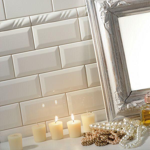 Gloss White Bevell 150x75mm 3